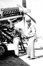 Claire Chennault inspecting a P-51 Mustang fighter, China, date unknown
