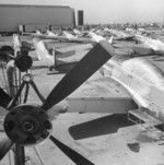 P-51 and P-47 aircraft being prepared for transfer to Republic of China Air Force, 1950s