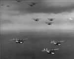 P2Y aircraft of US Navy squadron VP-4 in formation flight over the Pacific Ocean, 17 Nov 1935