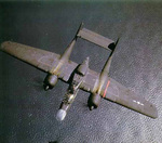 P-61 Black Widow aircraft in flight, viewed from above, Aug 1943-Aug 1945