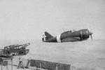 Launching a Re.2000 Falco I fighter from Vittorio Veneto