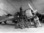 Re.2000 Falco I fighter in maintenance at Pantelleria, Italy