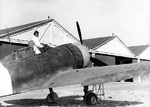 Re.2000 Falco I fighter of the Italian 377th Squadron at rest at an airfield, date unknown, photo 1 of 2