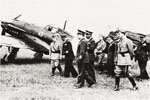 King Vittorio Emannuelle III of Italy inspecting new Re.2005 Sagittario fighters of the 362nd Squadron, date unknown