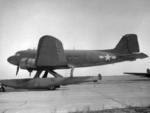 Army Air Corps XC-47C experimental transport aircraft, Jamaica bay, New York, United States, 13 Nov 1943; note Edo Model 78 floats