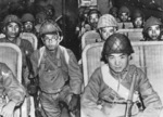 Japanese paratroopers of Kaoru Airborne Raiding Detachment inside a L2D aircraft, 26 Nov 1944; person in aisle with glasses was identified as Lieutenant Takashi Kaku