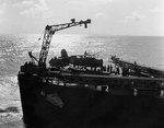 SOC Seagull aircraft being recovered by cruiser Philadelphia, off North Africa, Nov 1942, photo 4 of 4