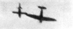 British Spitfire fighter attempting to topple a German V-1 flying bomb with its wing tip, date unknown