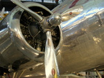 Close-up view of the inner starboard engine of a Boeing 307 Stratoliner aircraft on display at the Steven F. Udvar-Hazy Center, Chantilly, Virginia, United States, 6 Apr 2009