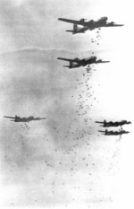 B-29 Superfortress bombers dropping bombs on Japan, circa Jul-Aug 1945