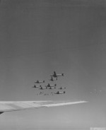 A formation B-29 Superfortress bombers in flight toward Japan, 1945