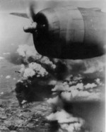 B-29 bomber attacking Japanese-controlled industrial targets in China, possibly Anshan Ironworks or Showa Steelworks in Liaoning Province, China, date unknown