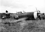 A P-47D Thunderbolt that crashed on take-off, Halesworth, Suffolk, England, United Kingdon, 7 Sep 1943. Photo 1 of 3.