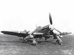 Canadian Typhoon fighter parked on grass, Jan 1943