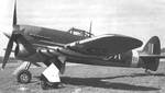British Typhoon aircraft marked with black and white stripes for Normandy operations, date unknown