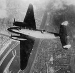British RAF Ventura bomber over IJmuiden Steelworks, IJmuiden, the Netherlands, Feb 1943; as seen in US Navy publication Naval Aviation News dated 15 Sep 1943
