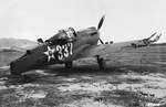 P-40 Warhawk aircraft damaged in a taxiing accident with another P-40 at Bellows Field, Oahu, US Territory of Hawaii, 8 Dec 1941, photo 1 of 3
