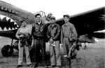 Pilots of 7th Fighter Squadron, Chinese-American Composite Wing (Provisional) Ye Wangfei, Squadron Leader Bill Reed, Xu Huajiang, and Tan Kun at Guilin Airfield, China, 4 Mar 1944