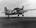 FM-2 Wildcat catapulted off of USS Core, North Atlantic, 12 Apr 1944