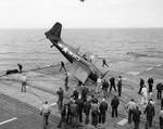 FM-2 Wildcat fighter after a barrier crash aboard USS Sable, Great Lakes, United States, May 1945