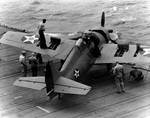 Wildcat of VF-6 testing out machine guns aboard USS Enterprise, 10 Apr 1942