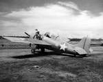 Wildcat fighter at Henderson Field, Guadalcanal, 2 Feb 1943