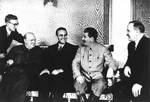 Winston Churchill, W. Averell Harriman, Joseph Stalin, and Vyacheslav Molotov at Fourth Moscow Conference, Russia, Oct 1944, photo 1 of 2
