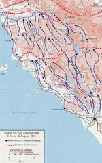 Map showing Allied advance from Rome toward the Arno River, Italy, 5 Jun-5 Aug 1944