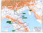 Map showing the Allied advance toward and through the Gothic Line, Italy, 5 Jun-31 Dec 1944