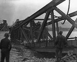 Ludendorff Bridge shortly after the collapse, Remagen, Germany, circa 17 Mar 1945
