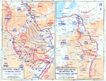 Map depicting the Allied advance to the Rhine River in West-Central Germany, Eastern France, and the Low Countries, 8 Feb-21 Mar 1945
