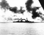 Heavy cruiser USS Salt Lake City in action during Battle of the Komandorski Islands, 26 Mar 1943