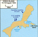 Map depicting the Allied landings on Kiska Island, Aleutian Islands, US Territory of Alaska, 15-16 Aug 1943