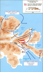 Map depicting the American operations on Attu Island, Aleutian Islands, US Territory of Alaska, 11-30 May 1945