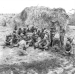 Canadian 1st Special Service Force troops being brief, Anzio beachhead, Italy, 20 Apr 1944
