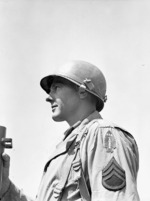 A sergeant of Canadian Special Service Force at Anzio, Italy, 20 Apr 1944; note US-Canada shoulder patch