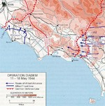 Map of the Allied Operation Diadem plan for the Anzio, Italy area, May 1944