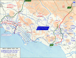 Map of the Allied breakout from the Anzio, Italy beachhead and advance from the Gustav Line, May 1944