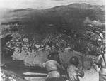 Russian artillery firing on Japanese positions, Manchuria, Aug 1945