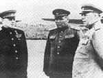 Vasilevsky (left) with two unidentified Russian generals, Manchuria, Aug 1945