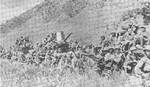 Russian troops moving across Manchurian mountains, Aug 1945