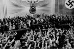 Adolf Hitler announcing the annexation of Austria to members of the Reichstag at Kroll Opera House, Berlin, Germany, Mar 1938