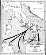 Map depicting the invasion of mainland Italy, Sep 1943