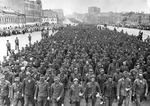 Troops of German 4th Army, after being captured at Minsk in Byelorussia, being marched through the streets of Moscow, Russia, 17 Jul 1944