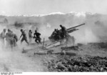 German 15 cm sFH 37(t) howitzer shelling Metaxas Line fortifications, Greece, early Apr 1941