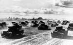 Russian tanks moved westward to fight the German invasion, 22 Jun 1941