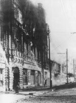 Firefighters battling a fire at a hotel in Kiev, Ukraine, 24 Sep 1941