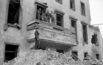 British and Soviet soldiers on the balcony of the Old Reich Chancellery building, same spot where Adolf Hitler had made many of his speeches, Berlin, Germany, 5 Jul 1945