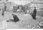 German civilians building a roadblock near the Hermannstraße S-Bahn station, Berlin, Germany, 10 Mar 1945, photo 2 of 6