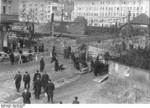 German civilians building a roadblock near the Hermannstraße S-Bahn station, Berlin, Germany, 10 Mar 1945, photo 5 of 6